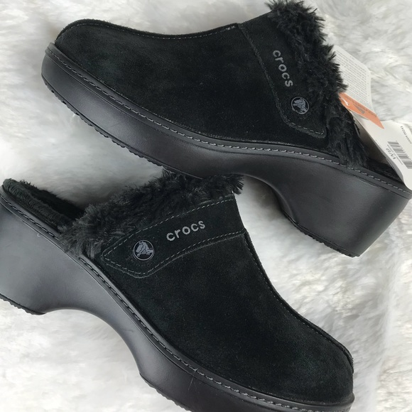 d9058b341 Crocs Cobbler Leather Clog Faux Fur Lined Black 9